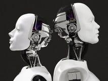 τρισδιάστατη απόδοση των κεφαλιών ενός θηλυκού και αρσενικού ρομπότ Στοκ εικόνα με δικαίωμα ελεύθερης χρήσης