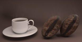 τρισδιάστατη απόδοση των φασολιών φλιτζανιών του καφέ και καφέ απεικόνιση αποθεμάτων