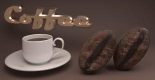 τρισδιάστατη απόδοση των φασολιών φλιτζανιών του καφέ και καφέ ελεύθερη απεικόνιση δικαιώματος