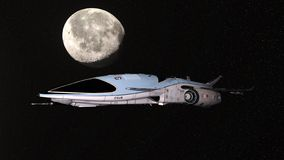 τρισδιάστατη απόδοση CG του διαστημικού σκάφους στοκ φωτογραφία