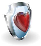 τρισδιάστατη ασπίδα εικονιδίων καρδιών απεικόνιση αποθεμάτων
