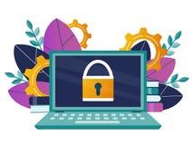 τρισδιάστατη ασφάλεια μηνυτόρων απεικόνισης υπολογιστών Lap-top με ένα εικονίδιο κλειδαριών στο όργανο ελέγχου Στοκ Φωτογραφία