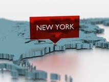 τρισδιάστατη αυτοκόλλητη ετικέττα παγκόσμιων χαρτών - πόλη της Νέας Υόρκης Στοκ Εικόνα