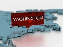 τρισδιάστατη αυτοκόλλητη ετικέττα παγκόσμιων χαρτών - πόλη της Ουάσιγκτον Στοκ Εικόνες