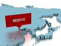 τρισδιάστατη αυτοκόλλητη ετικέττα παγκόσμιων χαρτών - πόλη του Πεκίνου Στοκ Εικόνες