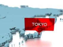 τρισδιάστατη αυτοκόλλητη ετικέττα παγκόσμιων χαρτών - πόλη του Τόκιο Στοκ Εικόνες