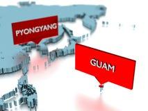 τρισδιάστατη αυτοκόλλητη ετικέττα παγκόσμιων χαρτών - πόλη του Pyongyang και του Γκουάμ Στοκ φωτογραφία με δικαίωμα ελεύθερης χρήσης