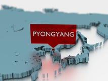 τρισδιάστατη αυτοκόλλητη ετικέττα παγκόσμιων χαρτών - πόλη του Pyongyang Στοκ Φωτογραφία