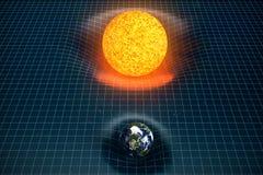 τρισδιάστατη γη ` s απεικόνισης και διάστημα κάμψεων βαρύτητας ήλιων γύρω από το με την επίδραση bokeh Η βαρύτητα έννοιας παραμορ ελεύθερη απεικόνιση δικαιώματος