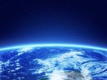 τρισδιάστατη γραμμή γήινων οριζόντων που καθίσταται διαστημική απεικόνιση αποθεμάτων