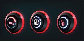 τρισδιάστατη διανυσματική συλλογή των δεικτών επιτροπής ταμπλό αυτοκινήτων, κόκκινοι, μπλε δείκτες ελεύθερη απεικόνιση δικαιώματος