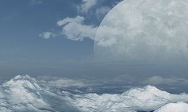 τρισδιάστατη διαστημική τέχνη: Αλλοδαπός πλανήτης στοκ εικόνες