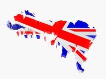 τρισδιάστατη διαχωριστική γραμμή της Μεγάλης Βρετανίας με τα χρώματα εθνικών σημαιών στοκ εικόνες