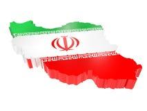τρισδιάστατη διαχωριστική γραμμή του Ιράν με τα χρώματα εθνικών σημαιών στοκ εικόνα