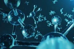 τρισδιάστατη δομή μορίων απεικόνισης Επιστημονικό ιατρικό υπόβαθρο με τα άτομα και τα μόρια Επιστημονικό υπόβαθρο για απεικόνιση αποθεμάτων