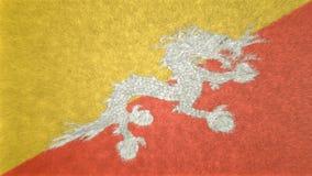 τρισδιάστατη εικόνα της σημαίας του Μπουτάν Διανυσματική απεικόνιση