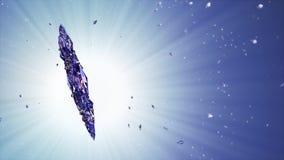 τρισδιάστατη εικόνα snowflake κρυστάλλου στο μπλε κλίμα απόθεμα βίντεο