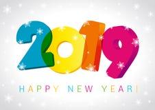 Τρισδιάστατη ευχετήρια κάρτα σχεδίου 2019 αριθμών καλής χρονιάς ελεύθερη απεικόνιση δικαιώματος