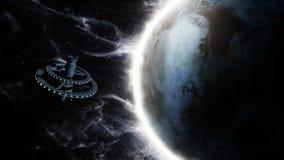 τρισδιάστατη ζωτικότητα ενός αλλοδαπού διαστημικού σταθμού απεικόνιση αποθεμάτων