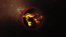 τρισδιάστατη ζωτικότητα ενός αστεριού με τις ροές λάβας σε μια επιφάνεια στο διάστημα απόθεμα βίντεο