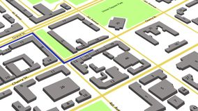 τρισδιάστατη ζωτικότητα μιας διαδρομής με τους χρωματισμένους δείκτες σε έναν αφηρημένο χάρτη πόλεων ελεύθερη απεικόνιση δικαιώματος