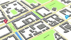 τρισδιάστατη ζωτικότητα μιας διαδρομής με τους χρωματισμένους δείκτες σε έναν αφηρημένο χάρτη πόλεων απόθεμα βίντεο