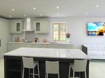 τρισδιάστατη ζωτικότητα της κουζίνας και dinningroom του εσωτερικού φιλμ μικρού μήκους