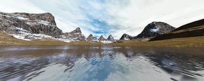 τρισδιάστατη λίμνη βουνών απόδοσης Στοκ εικόνα με δικαίωμα ελεύθερης χρήσης