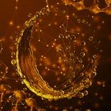 τρισδιάστατη λεπτομερής απεικόνιση μιας πτώσης του χρυσού χρώματος νερού Απεικόνιση αποθεμάτων