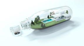 τρισδιάστατη μικρογραφία bottel wirh του σπιτιού απεικόνιση αποθεμάτων