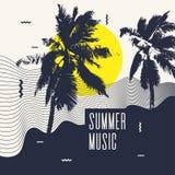 τρισδιάστατη μουσική απεικόνισης που δίνεται καλοκαίρι Σύγχρονη αφίσα με το φοίνικα ελεύθερη απεικόνιση δικαιώματος