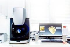 τρισδιάστατη οδοντική μηχανή ανίχνευσης υπολογιστών στοκ εικόνα