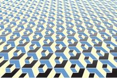 τρισδιάστατη οπτική παραίσθηση γεωμετρικό πρότυπο Όψη προοπτικής Στοκ Εικόνες