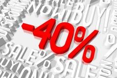 τρισδιάστατη πώληση -40% Στοκ εικόνες με δικαίωμα ελεύθερης χρήσης