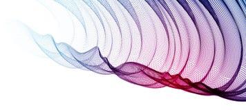 τρισδιάστατη σειρά πλέγματος μορίων, διαφανές κλωστοϋφαντουργικό προϊόν του Tulle στη ροή αέρα Στρογγυλή απεικόνιση επίδρασης σημ διανυσματική απεικόνιση