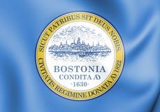 τρισδιάστατη σημαία της Βοστώνης, ΗΠΑ διανυσματική απεικόνιση