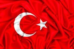 τρισδιάστατη σημαία της Τουρκίας που κυματίζει στον αέρα Στοκ Εικόνες