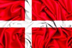 τρισδιάστατη σημαία OD Δανία που κυματίζει στον αέρα στοκ φωτογραφίες