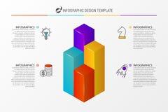 τρισδιάστατη στήλη διαγρ&alp Πρότυπο σχεδίου Infographic διάνυσμα Στοκ Εικόνες