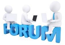 τρισδιάστατη συνεδρίαση ατόμων με ένα lap-top στο φόρουμ λέξης απεικόνιση αποθεμάτων