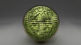 τρισδιάστατη σφαίρα γυαλιού με μερικούς πράσινους κύβους ελεύθερη απεικόνιση δικαιώματος