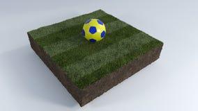 τρισδιάστατη σφαίρα ποδοσφαίρου στο μπάλωμα χλόης Στοκ φωτογραφία με δικαίωμα ελεύθερης χρήσης