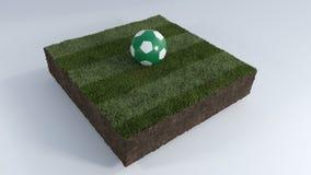 τρισδιάστατη σφαίρα ποδοσφαίρου στο μπάλωμα χλόης Στοκ Εικόνες