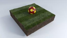 τρισδιάστατη σφαίρα ποδοσφαίρου στο μπάλωμα χλόης Στοκ Φωτογραφίες