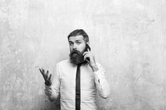 τρισδιάστατη υποστήριξη υπηρεσιών απεικόνισης διευθυντής ή γενειοφόρο άτομο με τη μακριά γενειάδα που μιλά στο τηλέφωνο Στοκ εικόνα με δικαίωμα ελεύθερης χρήσης