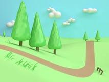 τρισδιάστατη χαμηλή πολυ-πεύκων δέντρων κινούμενων σχεδίων ελάχιστη ύφους αφηρημένη εθνική οδός βουνών λόφων τομέων φύσης πράσινη ελεύθερη απεικόνιση δικαιώματος