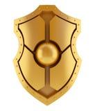 τρισδιάστατη χρυσή ασπίδα Στοκ Εικόνα