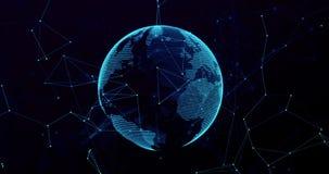 τρισδιάστατη ψηφιακή σφαίρα πλανήτη Γη απόδοσης μπλε, με το σημείο σύνδεσης πυράκτωσης, παγκοσμιοποίηση τεχνολογίας μέσων δικτύων