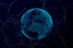 τρισδιάστατη ψηφιακή σφαίρα πλανήτη Γη απόδοσης μπλε, με το connecti πυράκτωσης ελεύθερη απεικόνιση δικαιώματος