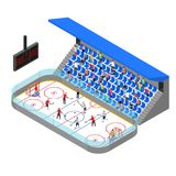 Τρισδιάστατη Isometric άποψη έννοιας ανταγωνισμού χώρων χόκεϋ πάγου διάνυσμα Στοκ Φωτογραφία
